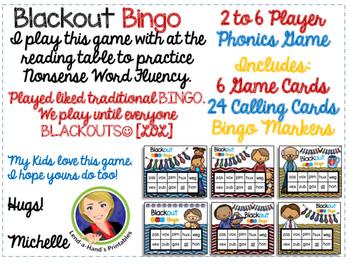 Father's Day Nonsense Word Fluency RTI Resource BLACKout Bingo Game