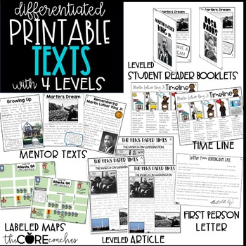 Martin Luther King Jr Text Pack: Differentiated for research