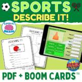 Describing Sports Vocabulary + BOOM Cards™ for Spring Summer Fall Winter