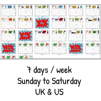 "EDITABLE ""SUPERHERO monthly calendar"" 2018-2019 & 2019 - planner"