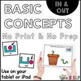 No Print Basic Concepts for Speech Therapy: In/Out w/Task Box Cards