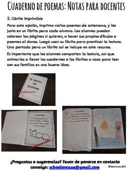 Poetry Journal or Notebook Set 2 {Spanish Dual Immersion}