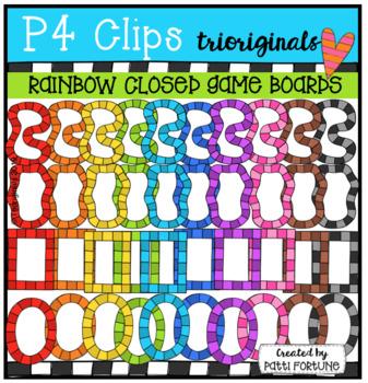 P4 RAINBOW Closed Game Boards (P4 Clips Trioriginals) RAINBOW CLIP ART