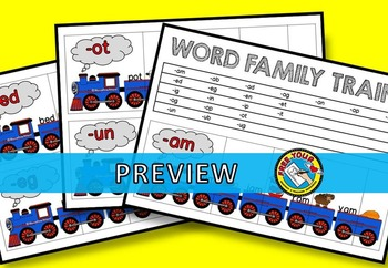 CVC WORD FAMILY ACTIVITIES (TRAIN PUZZLES WORD WORK KINDERGARTEN)