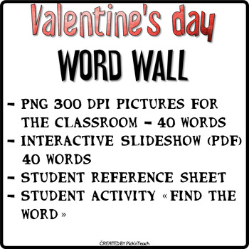 Valentine's Day ❤ WORD WALL ❤ + Reference sheet + activity (Red background)