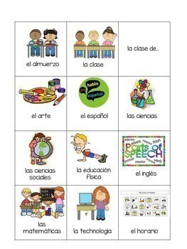 Spanish School Materials and Courses Flashcards