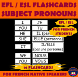 SET OF FLASHCARDS on SUBJECT PRONOUNS in FRENCH and in ENGLISH