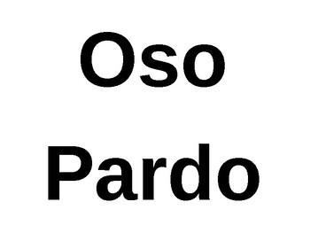 """FLES """"Oso Pardo, Oso Pardo ¿qué ves ahí?"""" Word Wall Flashcards"""