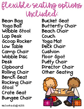 FLEXIBLE SEATING CHOICE CARDS (2 STYLES)