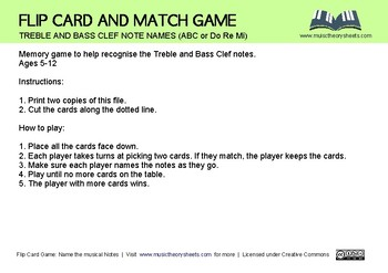FLIP AND MATCH MUSIC NOTE CARD GAME