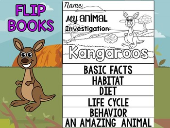 FLIP BOOK Bundle : Kangaroos - Zoo Animals : Research, Report, Australian