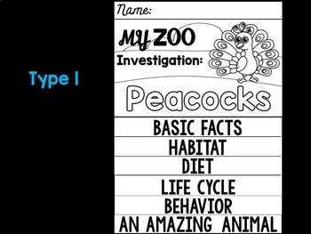FLIP BOOK Bundle : Peacocks - Zoo Animals : Research, Informative, Peacock