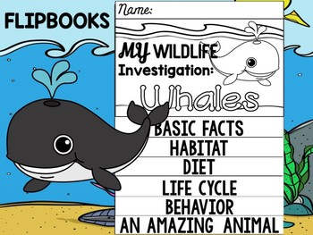 FLIP BOOK Bundle : Whales- Sea Ocean Animals : Research, Report, Whale