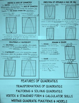 FLIP BOOK / FOLDABLE - Quadratic Functions - STAAR EOC REVIEW