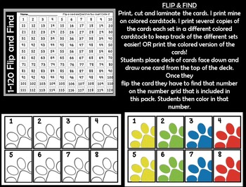 FLIP & FIND~ Math Center 1-120 ~ PAW PRINTS! Color or BW