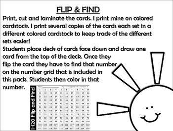 FLIP & FIND ~Math Center 1-120 ~ SUNSHINE!