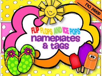FLIP FLOPS & ICE POPS DESKPLATES & LABELS {summer school l& editable}