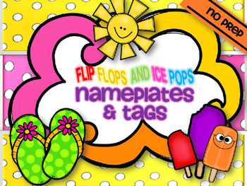 FLIP FLOPS & ICE POPS DESKPLATES & LABELS {summer school l