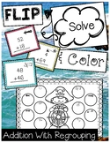 FLIP, SOLVE, & COLOR -- 2 Digit Addition with Regrouping