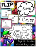 FLIP, SOLVE, & COLOR -- 2 Digit Subtraction Without Regrouping Circus Center
