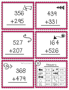 FLIP, SOLVE, & COLOR -- 3 Digit Addition with Regrouping