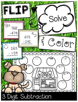 FLIP, SOLVE, & COLOR -- 3 Digit Subtraction with Regrouping