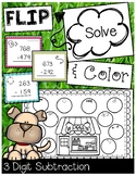 3 Digit Subtraction with Regrouping Game Pet Theme FLIP, SOLVE, & COLOR