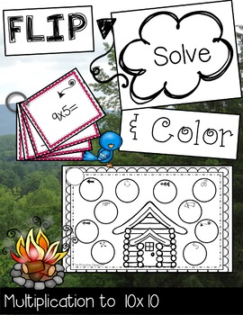 FLIP, SOLVE, & COLOR Camping-- Multiplication to 10 x 10