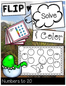 FLIP, SOLVE, & COLOR Dinosaur-- Numbers to 20