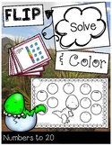 Place Value Game - Numbers to 20 FLIP, SOLVE, & COLOR Dinosaur Activities
