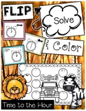 Telling Time to the Hour Task Card Game Safari Theme FLIP, SOLVE, & COLOR