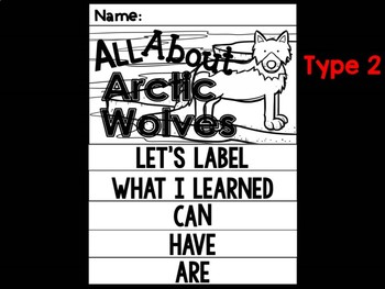 FLIPBOOK Bundle : Arctic Wolf -  Arctic Polar Animals : Research, Writing, Vocab