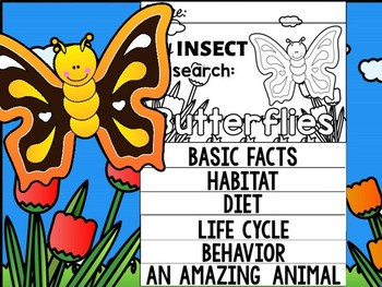 FLIPBOOK Bundle : Butterflies - Insects : Research, Report, Bugs, Life Cycle