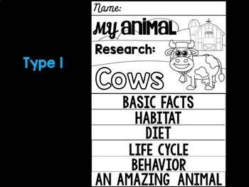 FLIPBOOK Bundle : Cows - Farm Animals: Research, Report, Cow