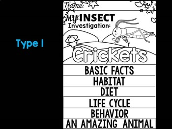 FLIPBOOK Bundle : Crickets - Insects : Research, Report, Bugs, Life Cycle