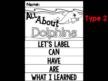 FLIPBOOK Bundle : Dolphins - Sea Ocean Animals : Research, Report, Writing