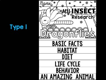 FLIPBOOK Bundle : Dragonflies - Insects : Research, Report, Bugs, Life Cycle