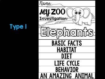 FLIPBOOK Bundle : Elephants - Zoo Animals : Research, Report, Safari