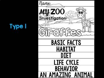 FLIPBOOK Bundle : Giraffes - Zoo Animals : Research, Report, Safari