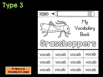 FLIP BOOK SET : Grasshoppers - Insects : Research, Report, Bugs, Life Cycle