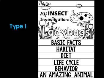 FLIPBOOK Bundle : Ladybugs - Insects : Research, Report, Bugs, Life Cycle
