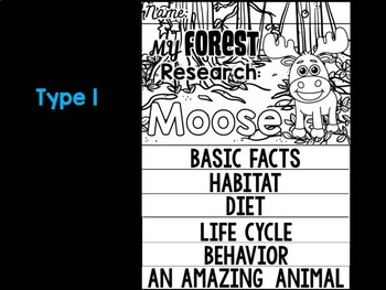 FLIPBOOK Bundle : Moose - Forest Animals : Research, Report, Woodland