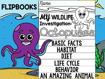 FLIPBOOK Bundle : Octopus - Sea Ocean Animals : Research, Report, Writing