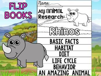 FLIPBOOK Bundle : Rhinos - Zoo Animals : Research, Rhinoceros, Safari