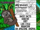 FLIPBOOK Set : Sloths - Rain forest Animals: Research, Report, Sloth
