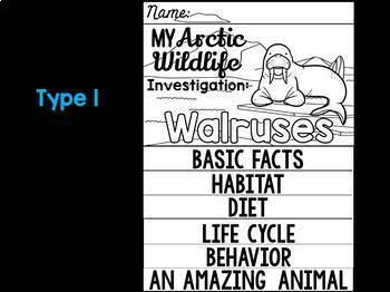FLIPBOOK Bundle : Walrus -  Arctic Polar Animals : Research, Writing, and Vocab