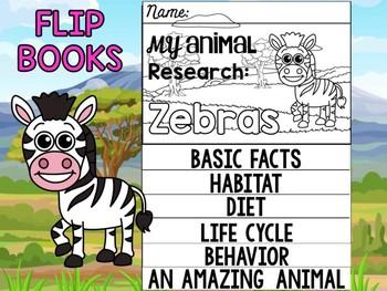 FLIPBOOK Bundle : Zebras - Zoo Animals : Research, Report, Safari