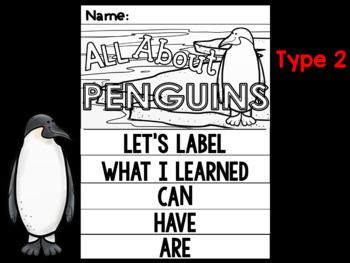 FLIP BOOK Bundle : Penguins - Polar Animals : Research, Writing, and Vocabulary