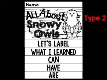 FLIP BOOK Bundle : Snowy Owls -  Polar Animals : Research, Writing, and Vocab