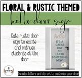 FLORAL & RUSTIC THEMED CLASSROOM DECOR: HELLO DOOR SIGN